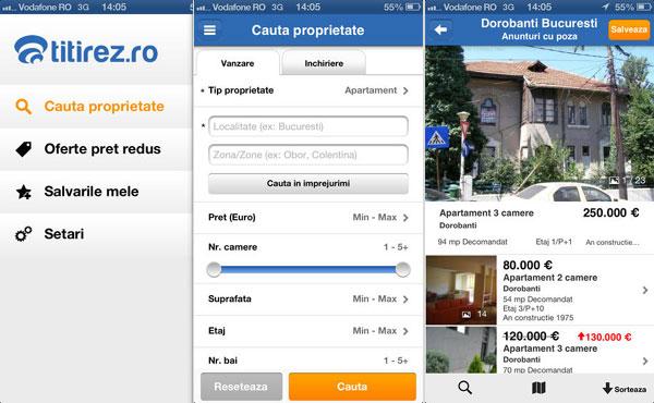 Aplicaţia Titirez.ro Imobiliare